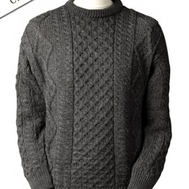 Aran Sweater Market - Lightweight Aran Wool Sweater - Charcoal