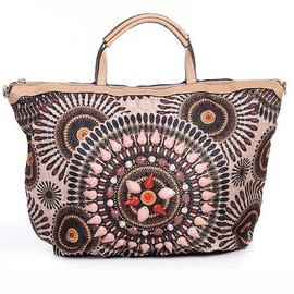 Ostara - Bead Embellishments Leatherette Tote Handbag in Brown by Liza