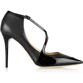 JIMMY CHOO - Mallow patent-trimmed leather pumps