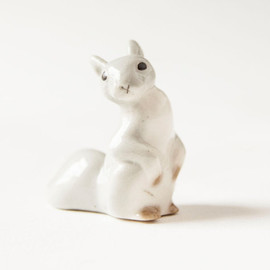 Vintage squirrel figurine, grey squirrel, Soviet Era porcelain