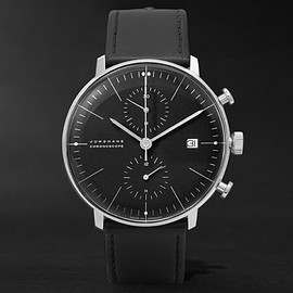 Junghans - Max Bill Stainless Steel and Leather Chronoscope Watch