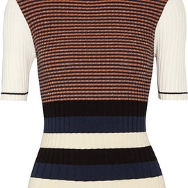 Opening Ceremony - Striped metallic ribbed-knit sweater