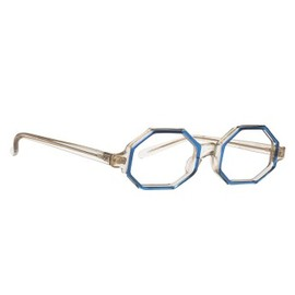 American Apparel - Vintage Clear/Blue Octagon Eyeglasses
