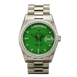 ROLEX - White Gold, Diamond Day-Date Stella Green Dial Ref 18349