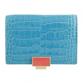 SMYTHSON - Card Case with Slide Closure, Turquoise Collection