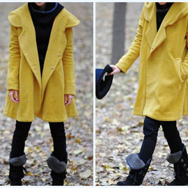 wool coat - Yellow Hoodie Wool cape winter coat