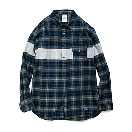 uniform experiment - WHITE LINE FLANNEL CHECK PULL OVER LONG SHIRT