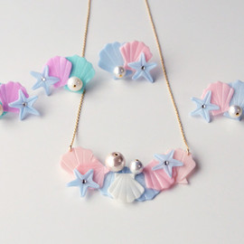 SEASIDE NECKLACE BUNCH MINT/PEACH