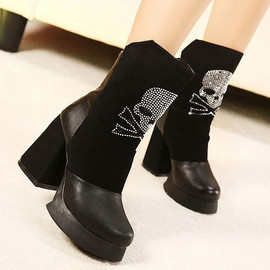 Platform Women Fashion Street Block Skeleton Martin Mid-calf Boots