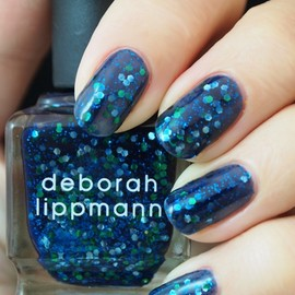 deborah lippmann - blazing blue and metallic green glam in sheerest navy (glitter)