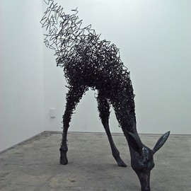 稲葉友宏 - Deer, sculpture, steel wire, steel