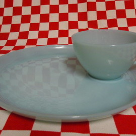 Jadeite Magic Gallery - Fire King Turquoise Blue Snack Set  #16