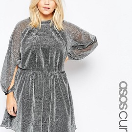 ASOS - Image 1 of ASOS CURVE Glitter Blouson Sleeve Skater Dress