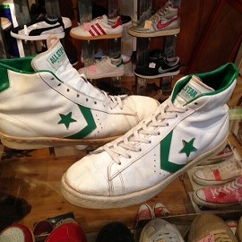 "converse - 「<used>'77 converse PRO LEATHER HI white/green""made in USA"" size:US10 30000yen」完売"