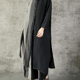 womens shirts - Leisure single breasted cotton and linen long shirt long gown black womens shirts