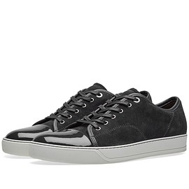 LANVIN - Cap-toe patent leather and suede sneakers