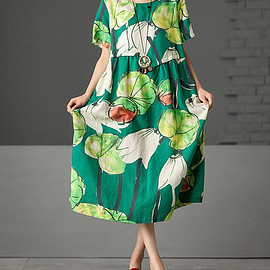 Summer long dress - Summer long dress,maxi dress in green,  printing Round collar dresses, Holiday casual dress