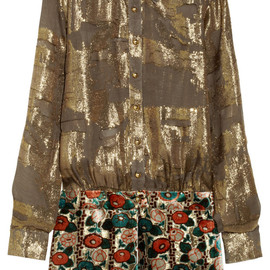ANNA SUI - Metallic chiffon-jacquard and burnout velvet dress