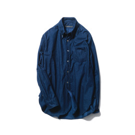 SOPHNET. - FRONT OPEN INDIGO FLANNEL LONG B.D SHIRT (DAMAGED)