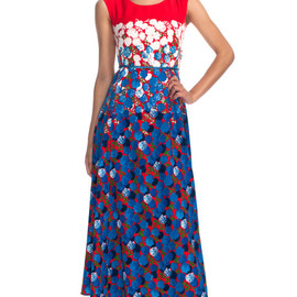 MARC JACOBS - Degrade floral long scoop neck dress