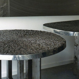 Ado Chale - Stone & bronze side tables