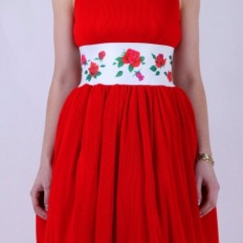 MANOUSH - Red Marilyn Rose Dress