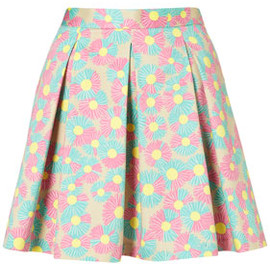 TOPSHOP/TOPMAN - Daisy Printed Pleated Skirt