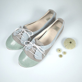 elehandmade - The Sofia Oxfords in Aqua Green, Gray and Ash - Cute Handmade Leather Oxford Shoes