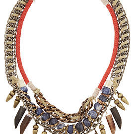 DANNIJO - Levi III oxidized silver-plated, bead and suede necklace