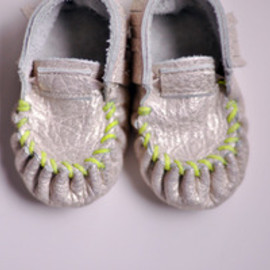 freshlypicked - Moccasins - Gold with Neon Green Stitching