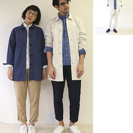 s&nd - cotton linen herringbone shirt coat