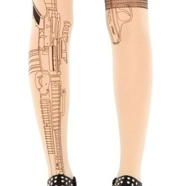 sheinside - Nude Cool Gun Print Sheer Tights