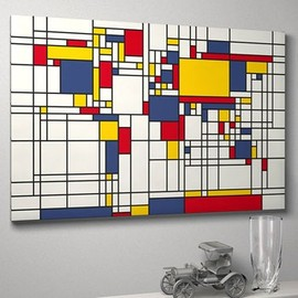 artPause - Mondrian-inspired world map art print