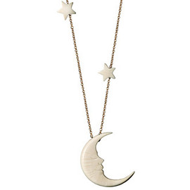 Gold & Diamond Crescent Moon & Triple Star Necklace