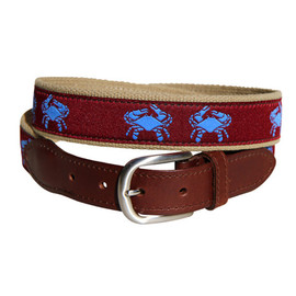 Belted Cow - Blue Crab Leather Tab Belt