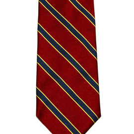 """Brooks Brothers - Vintage Brooks Brothers """"346"""" Pure Silk Striped Necktie Made in USA / Woven in Italy Red/Navy/Gold"""