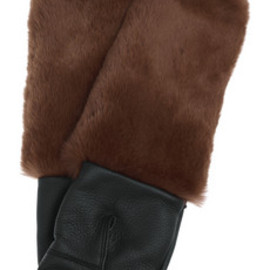 MARNI - Rabbit and leather mittens