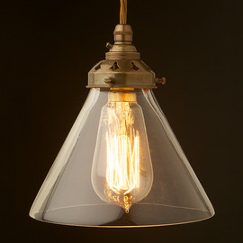 Edison Light Globes - Clear glass coolie lampshade B22 pendant