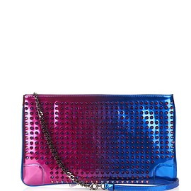 Christian Louboutin - Loubiposh Scarabe Spikes patent-leather pouch