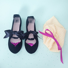 elehandmade - Ballet Flats Shoes Handmade Heart Shape Black Leather Mary Jane Ballerinas