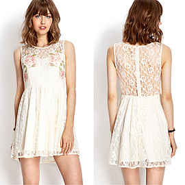 Sweet Floral Print Hollow Out Lace Spliced Sleeveless Dress