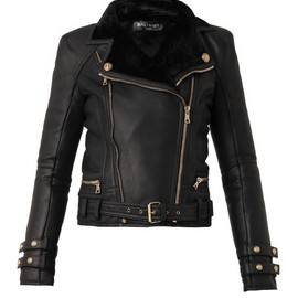 BALMAIN - Leather and shearling biker jacket