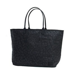 HEAD PORTER - BLACK LEOPARD TOTE BAG (M)