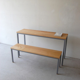 NAUT - 064   01_Resize standard furniture Atelier table: W1,300 D380 H720 / Solid ash oil finish / Steel hardening melamine paintResize standard furniture  Atelier long bench: W1,200 D330 H420 / Solid ash oil finish / Steel hardening melamine paint