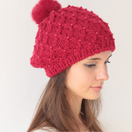 Sweet Cute Warm Bead Knit Red Women's Beanie