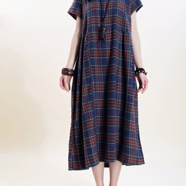 dress - Simple loose short sleeved long dress