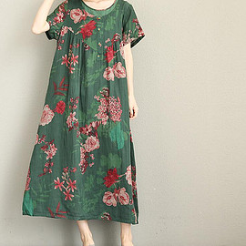 flowers pockets Dress - Cotton and linen loose dress women long dress flowers pockets Dress