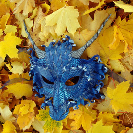 Merimask - RESERVED for Cara Lee... customized Frost Dragon and Flame Dragon... two leather masks made to order