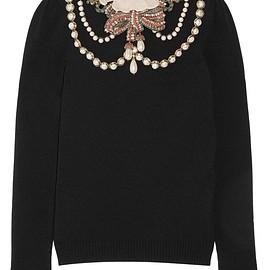 Gucci - Ruffle-trimmed embellished wool-blend sweater