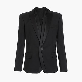 BALMAIN - Black wool blazer with double criss-crossed black satin collars Jacket